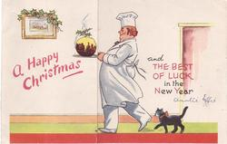 A HAPPY CHRISTMAS chef walks left holding round Xmas cake, cat follow behind