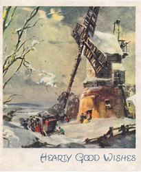 HEARTY GOOD WISHES stagecoach stopped left of windmill in snow
