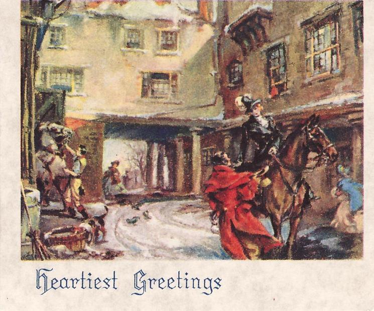 HEARTIEST GREETINGS man in red overcoat speaks to woman on horseback, buildings behind