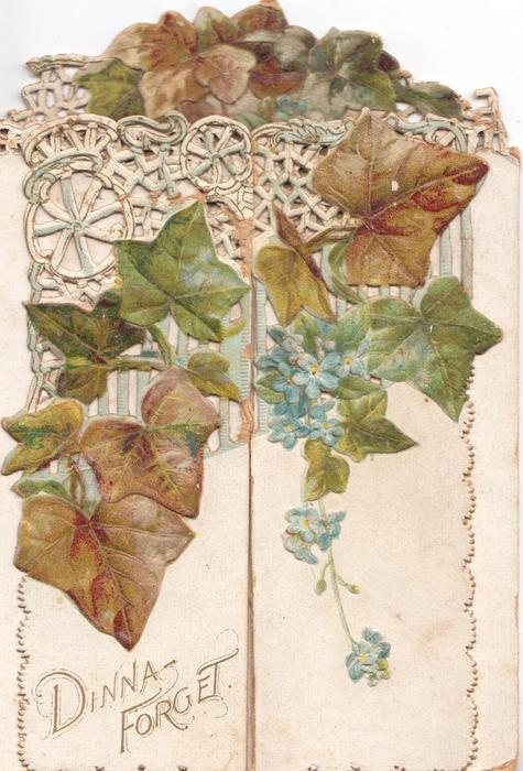 DINNA FORGET below ivy & spray of blue forget-me-nots hanging down on left & right panels