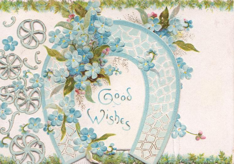 GOOD WISHES, sprays of blue forget-me-nots, horseshoe