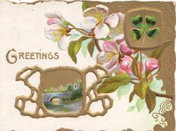 GREETINGS in gilt above & left, apple blossom, elaborate gilt design round rural inset bridge