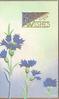 BEST WISHES(B & W illuminated) in gilt above blue cornflowers