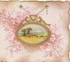 no front title, gilt bordered oval rural inset surrounded by pink forget-me-nots
