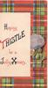 HOPING THISTLE BE A JOLLY XMAS on white  plaque, purple thistle over tartan background