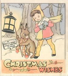 CHRISTMAS WISHES rabbit holds lantern beside boy with letters, tree trunks behind, sign reads A PRETTY STORY INSIDE FOR YOU TO READ