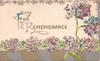 FOR REMEMBRANCE(F & R illuminated)in gilt on white plaque surrounded by forget-me-nots, grey/gilt design below
