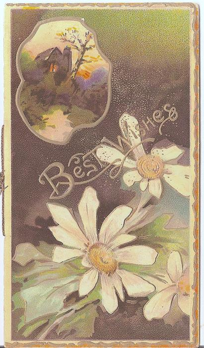 BEST WISHES in gilt, 3 daisies right, inset of house top left