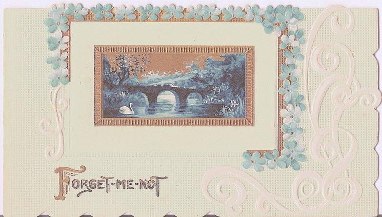 FORGET-ME-NOT gilt inset of water scene,bridge & one swan, framed by blue forget-me-nots