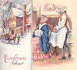CHRISTMAS CHEER on flap with horse carriage & building, woman seated with man in apron right