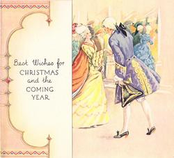 BEST WISHES FOR CHRISTMAS AND THE COMING YEAR man in purple takes hand of lady in yellow