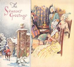 THE SEASON'S GREETINGS on panel left with man on horseback, woman in yellow dress, front, faces left & holds fan