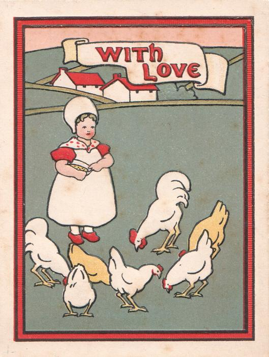 WITH JOY in red on white plaque, girl stands feeding chickens