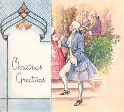 CHRISTMAS GREETINGS  bells on flap left, man in blue, stands on steps, reaches right hand for woman in red, right
