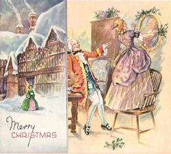 MERRY CHRISTMAS left with woman & buildings; right, woman stands on chair placing holly around mirror, man looks on