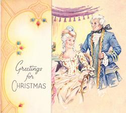 GREETINGS FOR CHRISTMAS on panel left, man in blue waistcoat stands behind woman sitting in chair, right