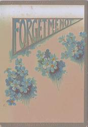 FORGET ME NOT written in banner, blue forget-me-nots underneath