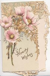 HEARTY WISHES in gilt on top flap below pink poppies with glittered flowers facing up & hidden GREETING