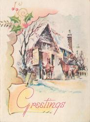 GREETINGS below inset scene with two horses at stable in snow, holly top left