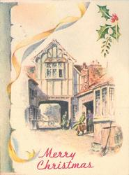 MERRY CHRISTMAS below inset of village inn, framed by yellow ribbon & holly