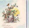 CHRISTMAS GREETINGS garden tools & robin in snow, glittered holly, perforated window with rural inset