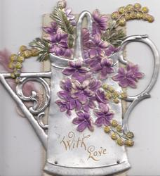 WITH LOVE in gilt on silver watering-can violets & stylised flowers