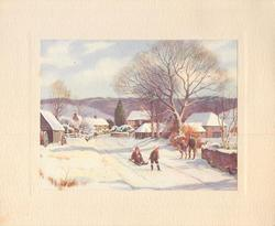 no front title, children with sled in snow on road leading to houses, leafless tree right