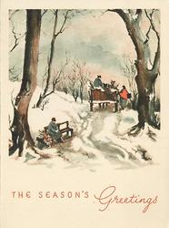 THE SEASON'S GREETINGS in red, path through trees with person on bench left & horse-cart facing away