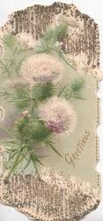 GREETINGS in gilt below thistles, glittered perforated design above & below