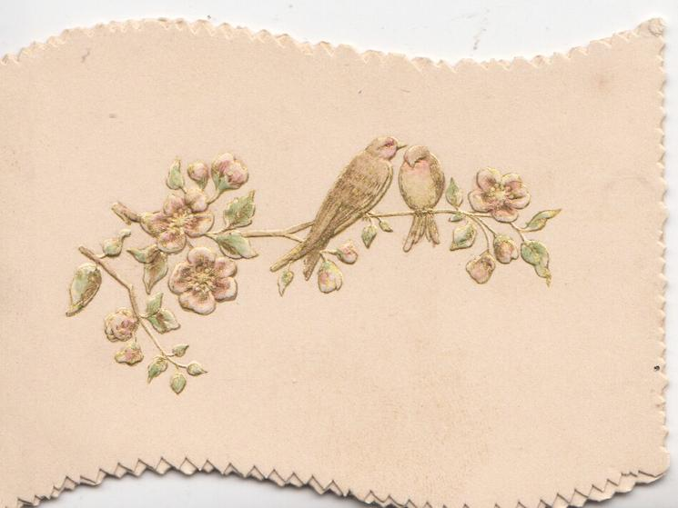 no front title, 2 stylised birds on spray of wild rose