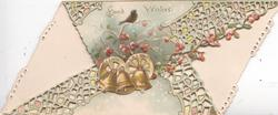GOOD WISHES at top , tiny bird & stylised red berries, complex perforated white design wikth 3 bells