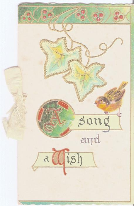 A SONG AND A WISH robin perched on inset of lettering, ivy above