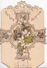 THE LORD REIGNETH at top of both flaps, white & purple violets on ornate designed cross