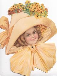 A JOYOUS AND BRIGHT EASTER FOR YOU, girls face, large orange hat & dress, stylised orange daisies