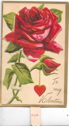 TO MY VALENTINE, large red rose on flap & bud,  pushes up & down, covers angel, gilt margins