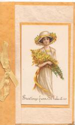 GREETINGS FROM ST. VALENTINE, girl in cream dress carries armful of flowers