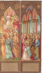 panels show colourful Religious procession left, prayer with people gazing up right
