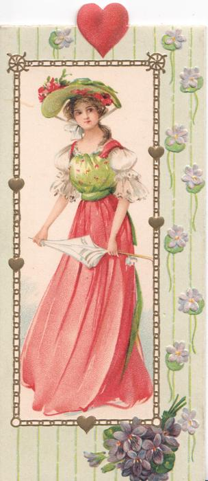no front title, pretty girl in red & green holds parasol, facing half left looking front, violets below, heart above
