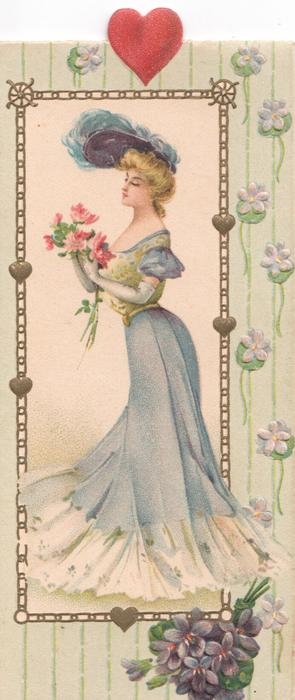 no front title, pretty girl in blue standing holding flowers facing & looking left, violets below, heart above