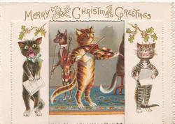 MERRY CHRISTMAS GREETINGS across top of card, large window opens to show cat playing violin, others sing with dog