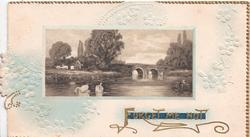 FORGET-ME-NOT gilt inset of water scene, bridge & 2 swans, pale blue forget-me-nots around