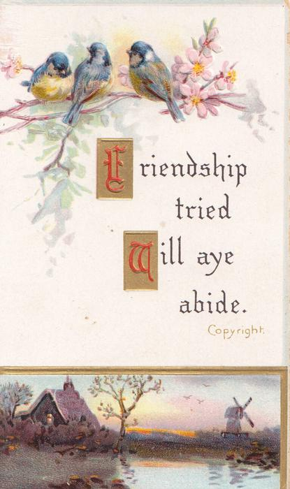FRIENDSHIP TRIED WILL AYE ABIDE.(F & W illuminated) below 3 blue-tits(blue-birds of happiness) over watery rural inset