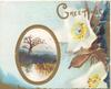 GREETINGS in gilt above white anemones, oval rural watery inset, tree, evening scene