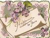 HAPPINESS BE YOURS on white plaque gilt design & violets around