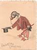 VALENTINE GREETING dressed personized goose doffs hat & bows left