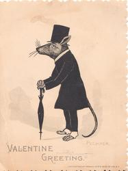 VALENTINE GREETING personized mouse in evening dress & top hat bows left holding umbrella