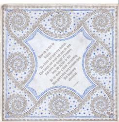 A HAPPY CHRISTMAS-TIDE, Cathedral above stylised blossom & leaves, black & blue design front & back