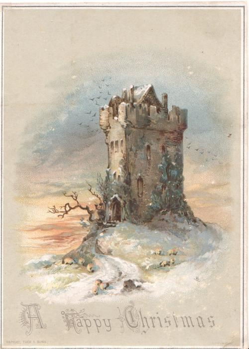 A HAPPY CHRISTMAS below ruin of castle with sheep on snowy ground