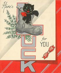 HERE'S LUCK FOR YOU large silvered lettering with black cat & boot on letter 'L', heather behind