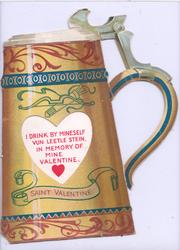 SAINT VALENTINE on golden tankard with complex blue & red design, large heart shaped perforation